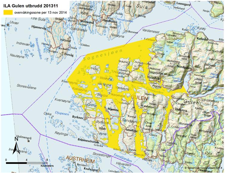 gulen kart Forskrift om endring i forskrift om kontrollområde for å forebygge  gulen kart