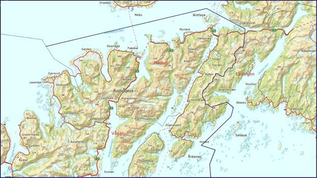 geografisk kart Forskrift om beskyttelse av Lofotlam som geografisk betegnelse  geografisk kart