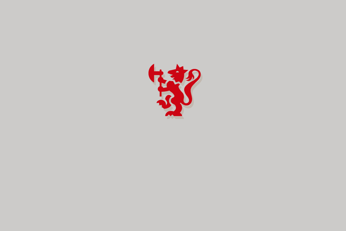 Rød Lovdata-løve på grå bakgrunn